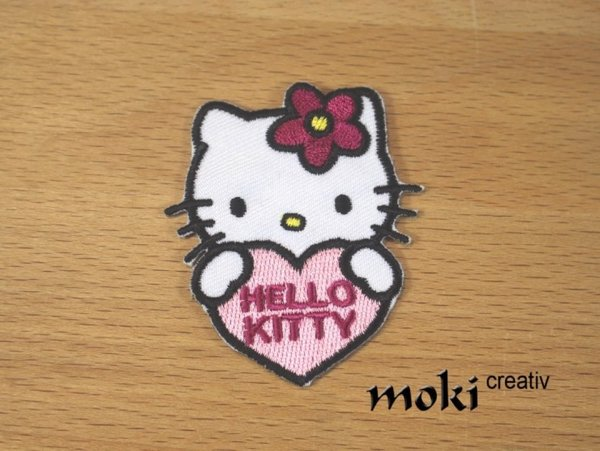 Hello Kitty Applikation Bügelbild rosa Herz